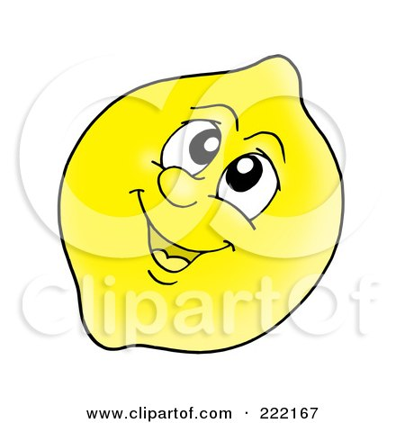 Royalty-Free (RF) Clipart Illustration of a Happy Lemon Face Smiling by visekart