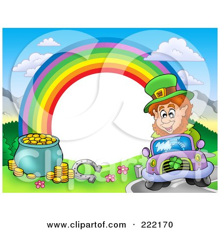 Royalty-Free (RF) Clipart Illustration of a Frame Of A Leprechaun Driving, A Horseshoe And Pot Of Gold With A Rainbow Around White Space by visekart