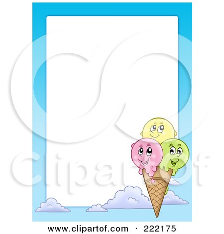 Royalty-Free (RF) Clipart Illustration of a Happy Ice Cream Cone Frame Around White Space by visekart