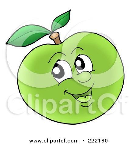 Royalty-Free (RF) Clipart Illustration of a Happy Green Apple Face Smiling by visekart