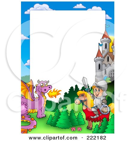 Royalty-Free (RF) Clipart Illustration of a Knight And Horse With A Dragon And Castle Frame Around White Space by visekart