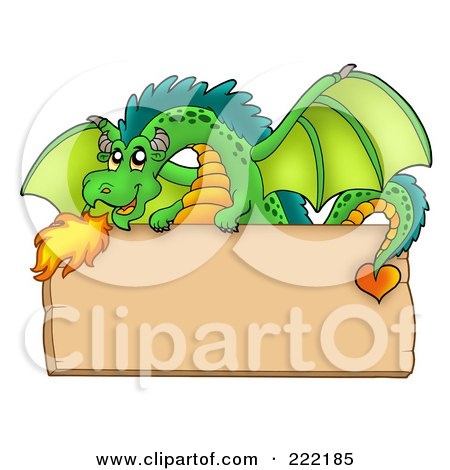 Royalty-Free (RF) Clipart Illustration of a Green Fire Breathing Dragon Over A Blank Wooden Sign by visekart