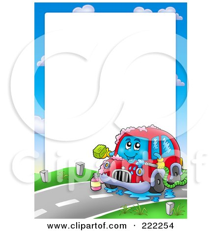 Royalty-Free (RF) Clipart Illustration of a Car Wash Border Around White Space by visekart
