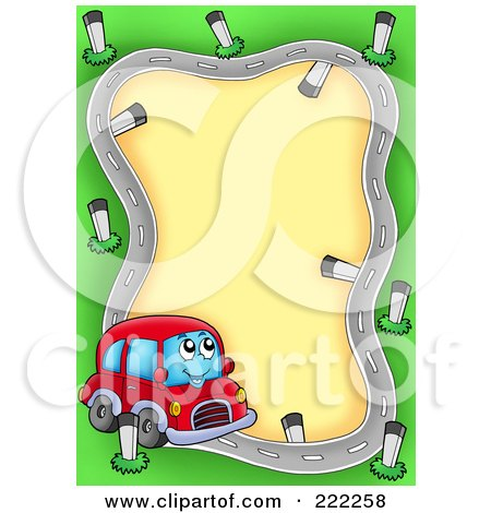Royalty Free Rf Clipart Illustration Of A Car Character Driving On A Road Frame on Car Wash Posters Clip Art