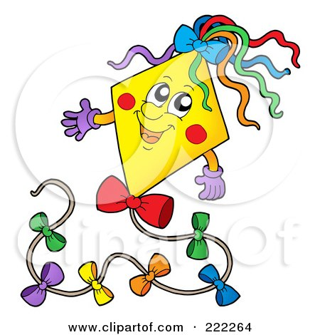 Royalty-Free (RF) Clipart Illustration of a Happy Yellow Kite Character by visekart