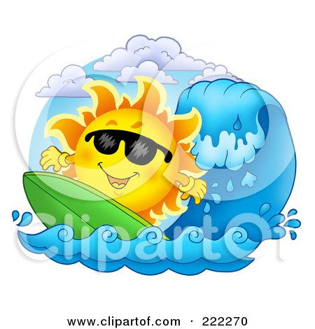 Royalty-Free (RF) Clipart Illustration of a Happy Summer Sun Wearing Shades And Surfing by visekart
