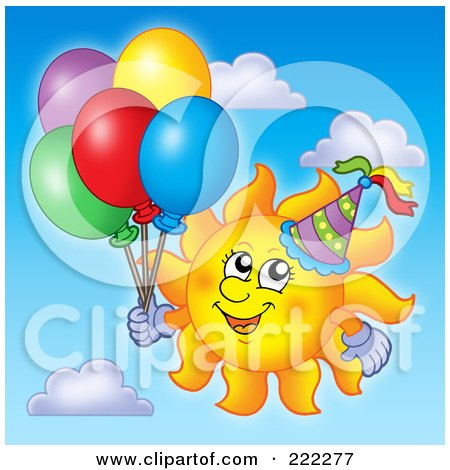 Royalty-Free (RF) Clipart Illustration of a Happy Summer Sun With A Party Hat And Balloons by visekart