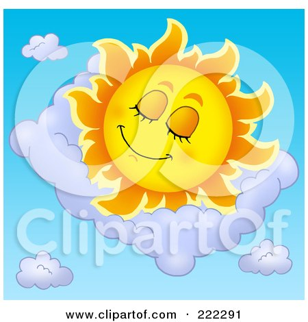 Royalty-Free (RF) Clipart Illustration of a Happy Summer Sun Sleeping In A Cloud by visekart