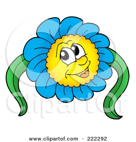 Royalty-Free (RF) Clipart Illustration of a Blue Daisy Character With Two Leaves by visekart