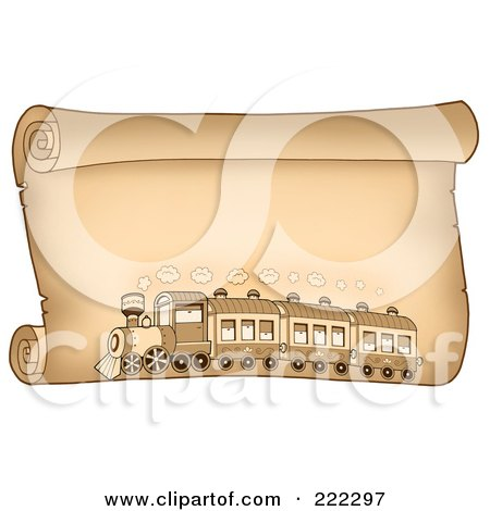 Royalty-Free (RF) Clipart Illustration of a Train On A Horizontal Parchment Paper by visekart