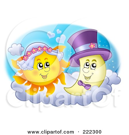 Royalty-Free (RF) Clipart Illustration of a Sun And Moon Bride And Groom by visekart