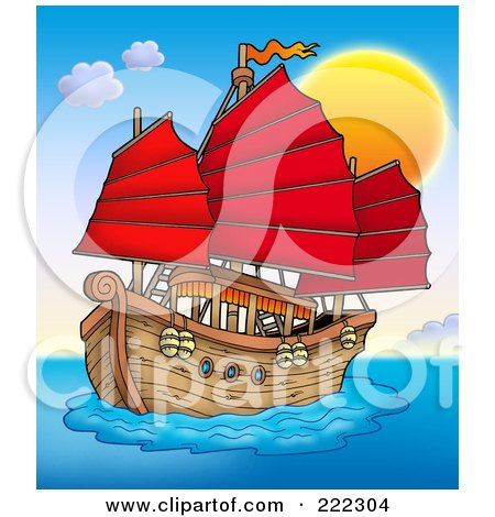 Royalty-Free (RF) Clipart Illustration of a Chinese Ship Sailing At Sunset by visekart