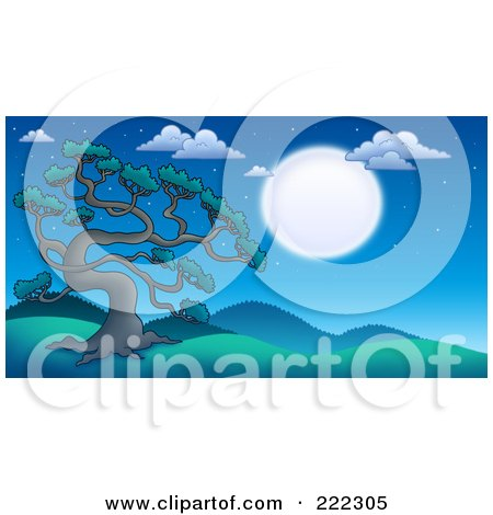 Royalty-Free (RF) Clipart Illustration of a Tall Pine Tree In The Moonlight In A Hilly Landscape by visekart