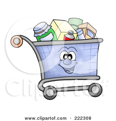 Royalty-Free (RF) Clipart Illustration of a Shopping Cart Character Full Of Items by visekart