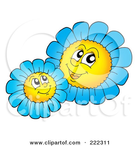 Royalty-Free (RF) Clipart Illustration of Blue Daisy Characters by visekart