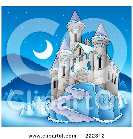 Royalty-Free (RF) Clipart Illustration of a Castle In A Frozen Night Landscape by visekart