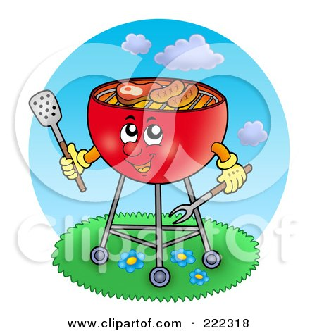 Royalty-Free (RF) Clipart Illustration of a Red Bbq Grill Cooking Outdoors by visekart