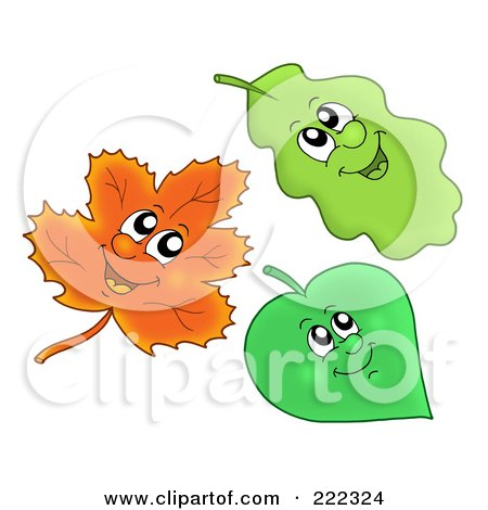 Royalty-Free (RF) Clipart Illustration of a Digital Collage Of Three Happy Leaves by visekart