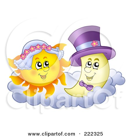 Royalty-Free (RF) Clipart Illustration of a Sun And Moon Wedding Couple by visekart