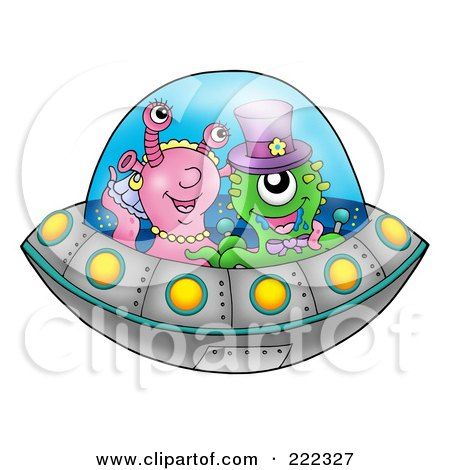 Royalty-Free (RF) Clipart Illustration of an Alien Wedding Couple Flying A Saucer by visekart