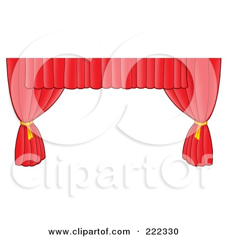 Royalty-Free (RF) Clipart Illustration of a Long Red Curtain Tied Aside by visekart