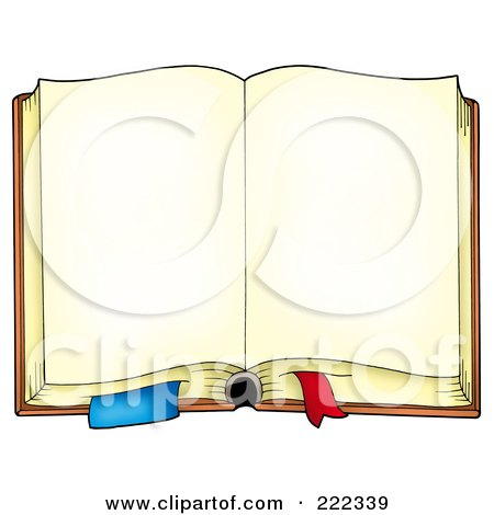Royalty-Free (RF) Clipart Illustration of an Aged Book With Open Blank Pages by visekart