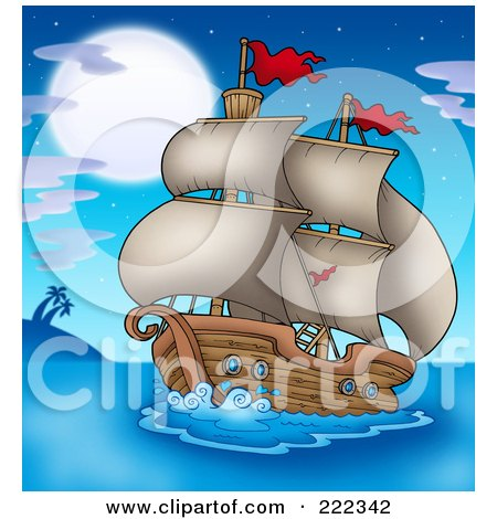 Royalty-Free (RF) Clipart Illustration of an Old Ship Sailing In The Moonlight by visekart