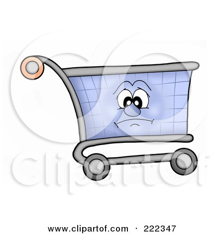 Royalty-Free (RF) Clipart Illustration of a Shopping Cart Character With A Sad Face by visekart