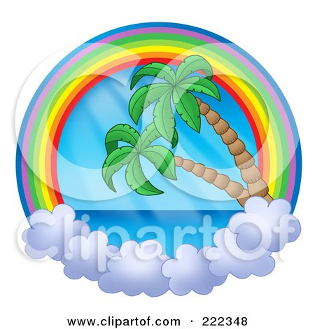 Royalty-Free (RF) Clipart Illustration of a Rainbow And Cloud Circle With The Sea And Palm Trees by visekart