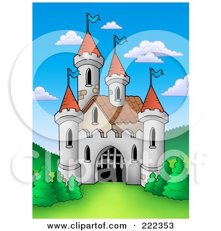 Royalty-Free (RF) Clipart Illustration of a Castle With A Partially Open Gate by visekart