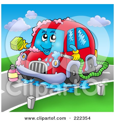 Royalty-Free (RF) Clipart Illustration of a Car Character Breaking Down On A Road by visekart