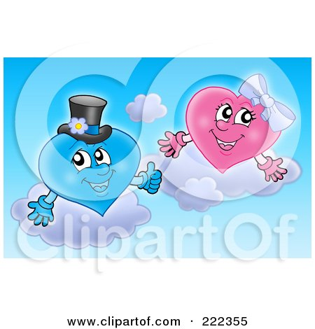 Royalty-Free (RF) Clipart Illustration of a Pink And Blue Wedding Heart Couple In The Sky by visekart
