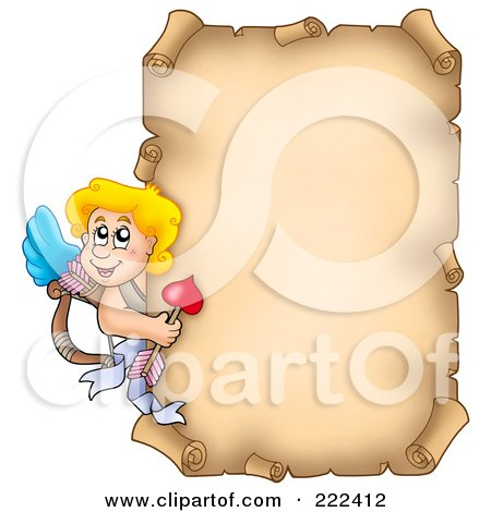 Royalty-Free (RF) Clipart Illustration of Cupid Around A Parchment Page by visekart
