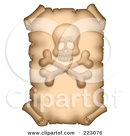 Royalty-Free (RF) Clipart Illustration of an Aged Vertical Parchment Page With A Skull And Crossbones by visekart