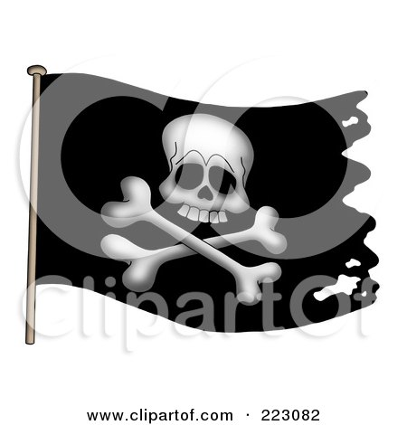 Royalty-Free (RF) Clipart Illustration of a Black Jolly Roger Pirate Flag With Holes by visekart