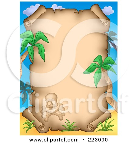 Royalty-Free (RF) Clipart Illustration of a Skull And Palm Trees Framing An Aged Parchment Page by visekart