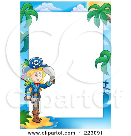 Royalty-Free (RF) Clipart Illustration of a Pirate Border Around White Space - 16 by visekart