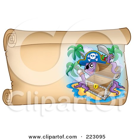 Royalty-Free (RF) Clipart Illustration of a Pirate Octopus With An Empty Chest On A Horizontal Parchment Page by visekart