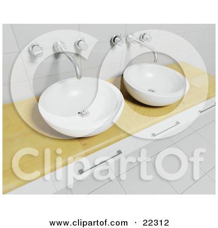Clipart Illustration of a Wood Counter With Three Drawers, Two Bowl Sinks, Chrome Faucets, Tile Walls And Flooring In A Modern Bathroom by KJ Pargeter