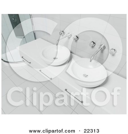 Clipart Illustration of a White Counter With Three Drawers, Two Bowl Sinks, Chrome Faucets, Tile Walls And Flooring And A Corner Shower In A Modern Bathroom by KJ Pargeter