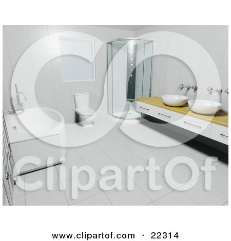 Clipart Illustration of a Deep Bath Tub, White Toilet, Corner Shower And Wooden Counter With Bowl Sinks In A Modern Bathroom With Tile Walls And Flooring by KJ Pargeter