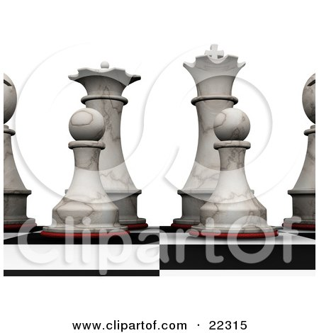 Clipart Illustration of an Ivory Chess King, Queen, Bishops And Pawns Prepared For A Game Of Chess by KJ Pargeter