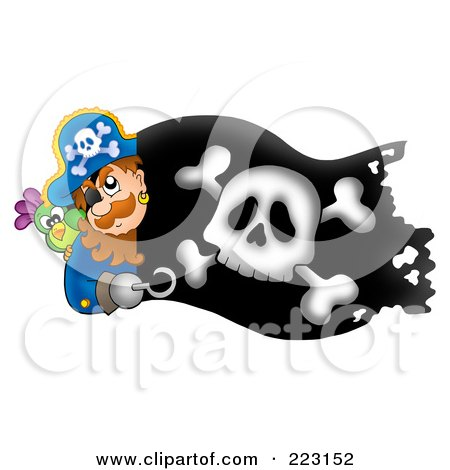 Royalty-Free (RF) Clipart Illustration of a Pirate Man Holding A Sword Over A Black Flag by visekart