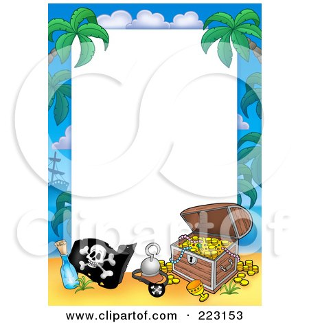 Royalty-Free (RF) Clipart Illustration of a Pirate And Treasure Chest Border Around White Space by visekart