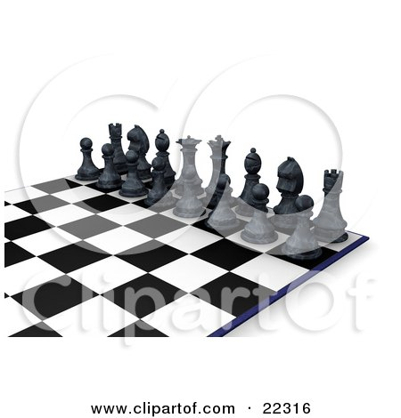 Clipart Illustration of a Lineup Of Black Chess Pieces, The King, Queen, Rooks, Knights, Bishops, And Pawns, On A Chessboard, Ready For A Battle by KJ Pargeter
