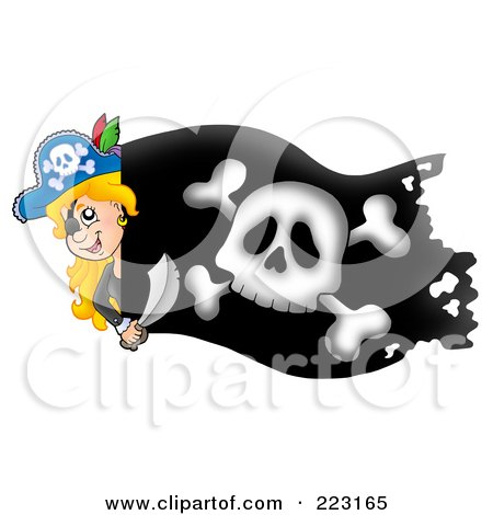 Royalty-Free (RF) Clipart Illustration of a Pirate Girl Holding A Sword Over A Black Flag by visekart