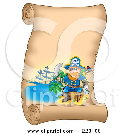Royalty-Free (RF) Clipart Illustration of a Male Pirate And Sword On A Blank Vertical Parchment Page by visekart