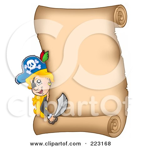Royalty-Free (RF) Clipart Illustration of a Pirate Girl Looking Around A Blank Vertical Parchment Page by visekart