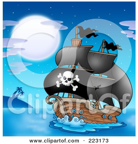 Royalty-Free (RF) Clipart Illustration of a Pirate Ship - 4 by visekart