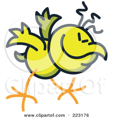 Royalty-Free (RF) Clipart Illustration of a Yellow Chicken Bowing by Zooco